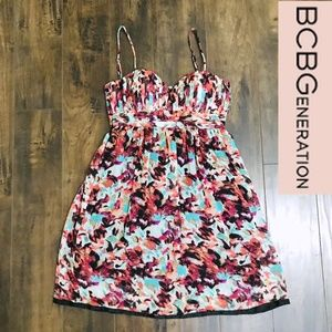 BCBGeneration Seashell Bodice Pleated Strap Dress